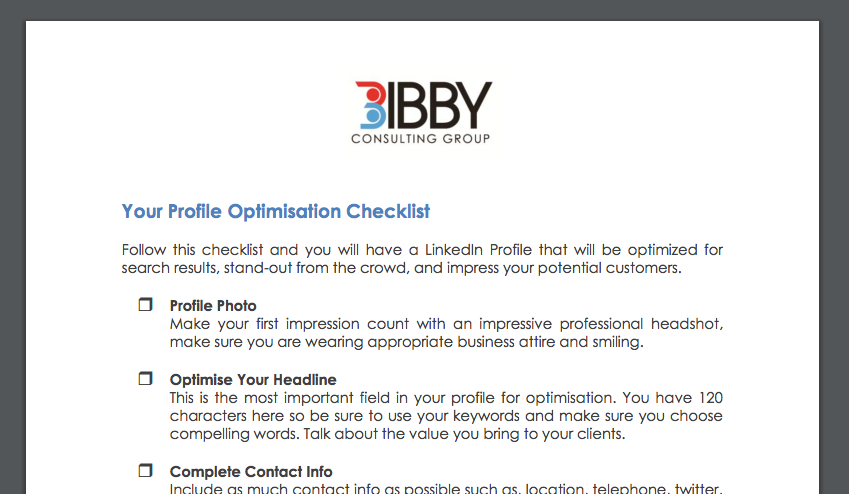 linkedin Profile optimization checklist